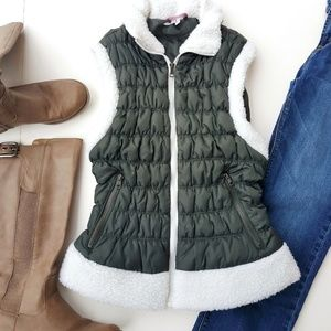 PINK PLATINUM Puffer Army Green with Fleece Vest
